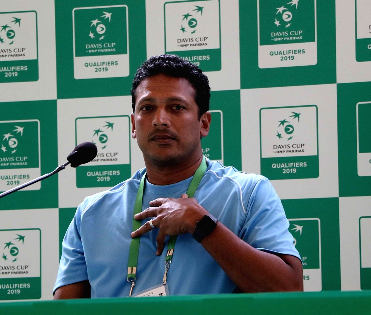 Kolkata: Non- playing captain of the Indian Davis Cup team Mahesh Bhupathi addresses a press conference after a practice session ahead of the Davis Cup World Group qualifier against Italy on February 1-2, in Kolkata on Jan 30, 2019.
