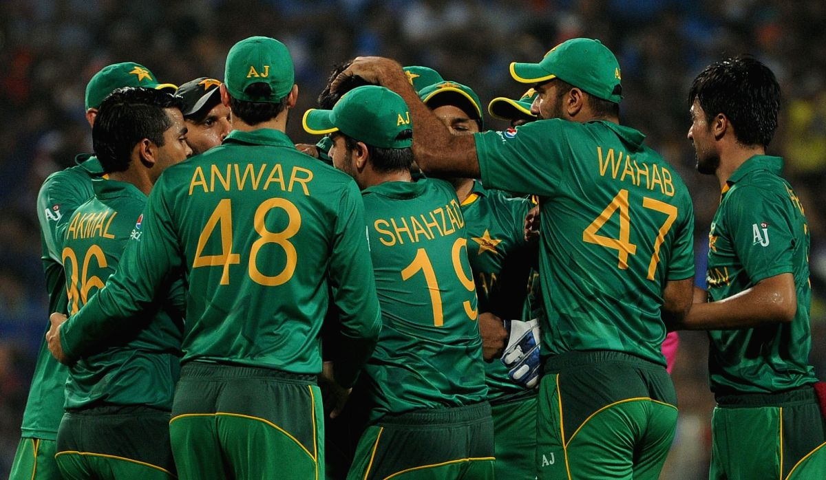 Kolkata: Pakistan players celebrate fall of a wicket during the ICC WT20 2016 match between India and Pakistan at Eden Gardens in Kolkata on March 19, 2016.