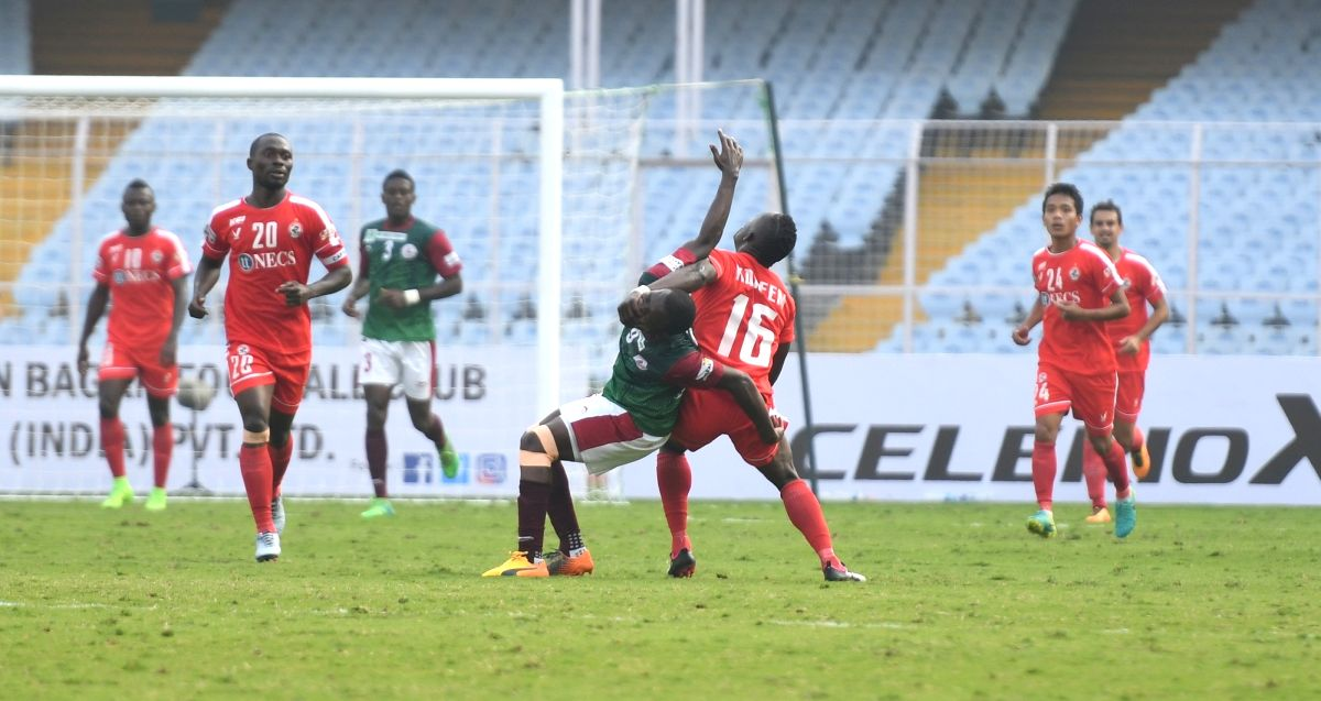 Kolkata: Players in action during an I -League match between Mohun Bagan and Aizawl FC at the Vivekananda Yuba Bharati Krirangan in Kolkata on Jan 7, 2018. Mohun Bagan had a 2-0 victory over Aizawl FC. (Photo:IANS)