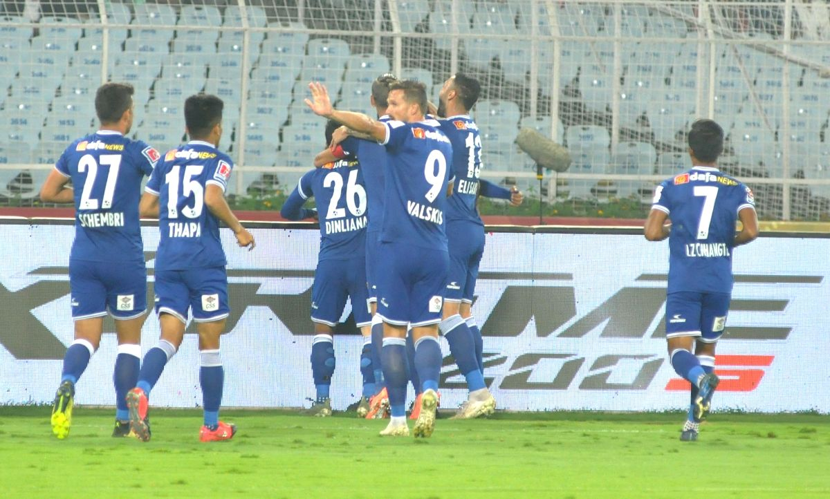 Kolkata: Players in action during an Indian Super League (ISL) match between Chennaiyin FC and ATK at Salt Lake Stadium in Kolkata, on Feb 16, 2020.