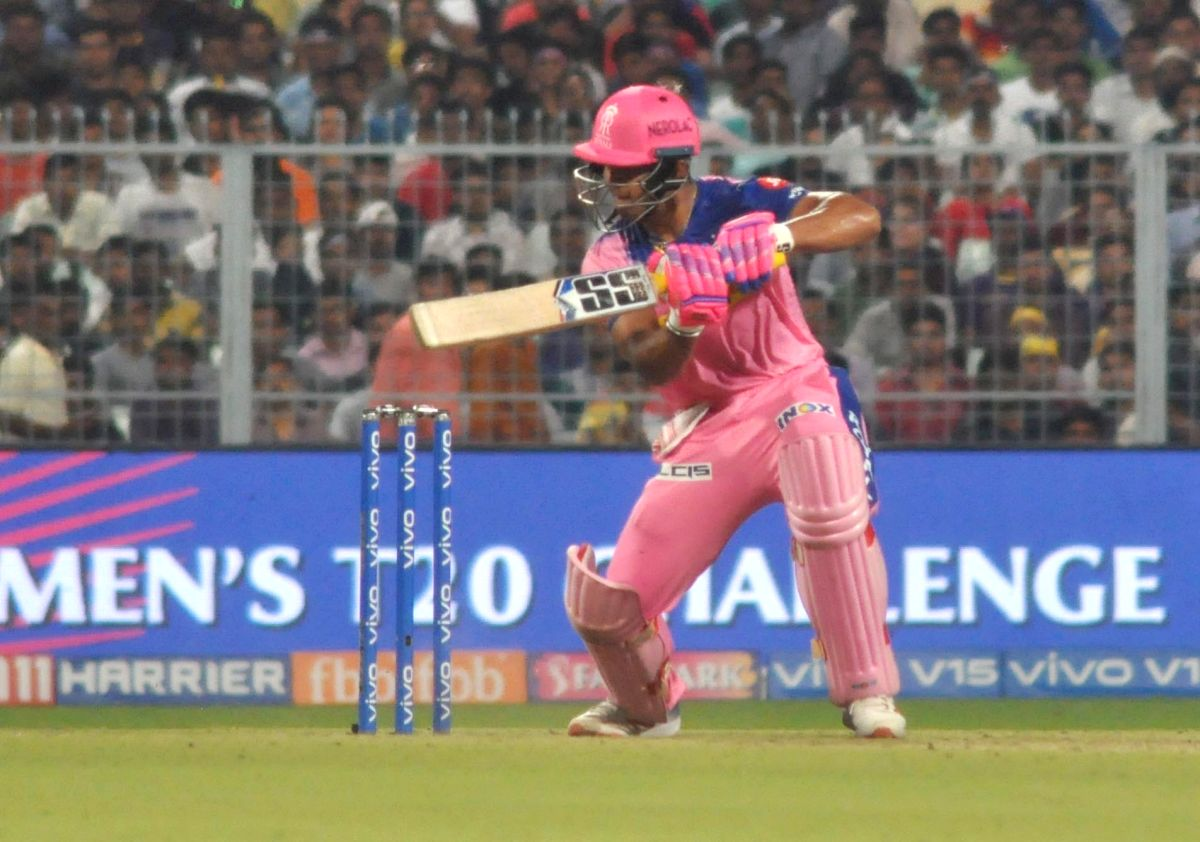 Kolkata: Rajasthan Royals' Riyan Parag in action during the 43rd match of IPL 2019 between Kolkata Knight Riders and Rajasthan Royals at Eden Gardens in Kolkata, on April 25, 2019. (Photo: Kuntal Chakrabarty/IANS)