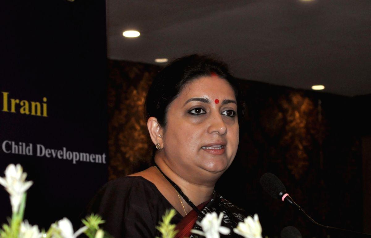Kolkata: Union Women and Child Development Minister Smriti Irani addresses a press conference on completion of 100 Days of Government, in Kolkata on Sep 10, 2019. (Photo: Kuntal Chakrabarty/IANS)