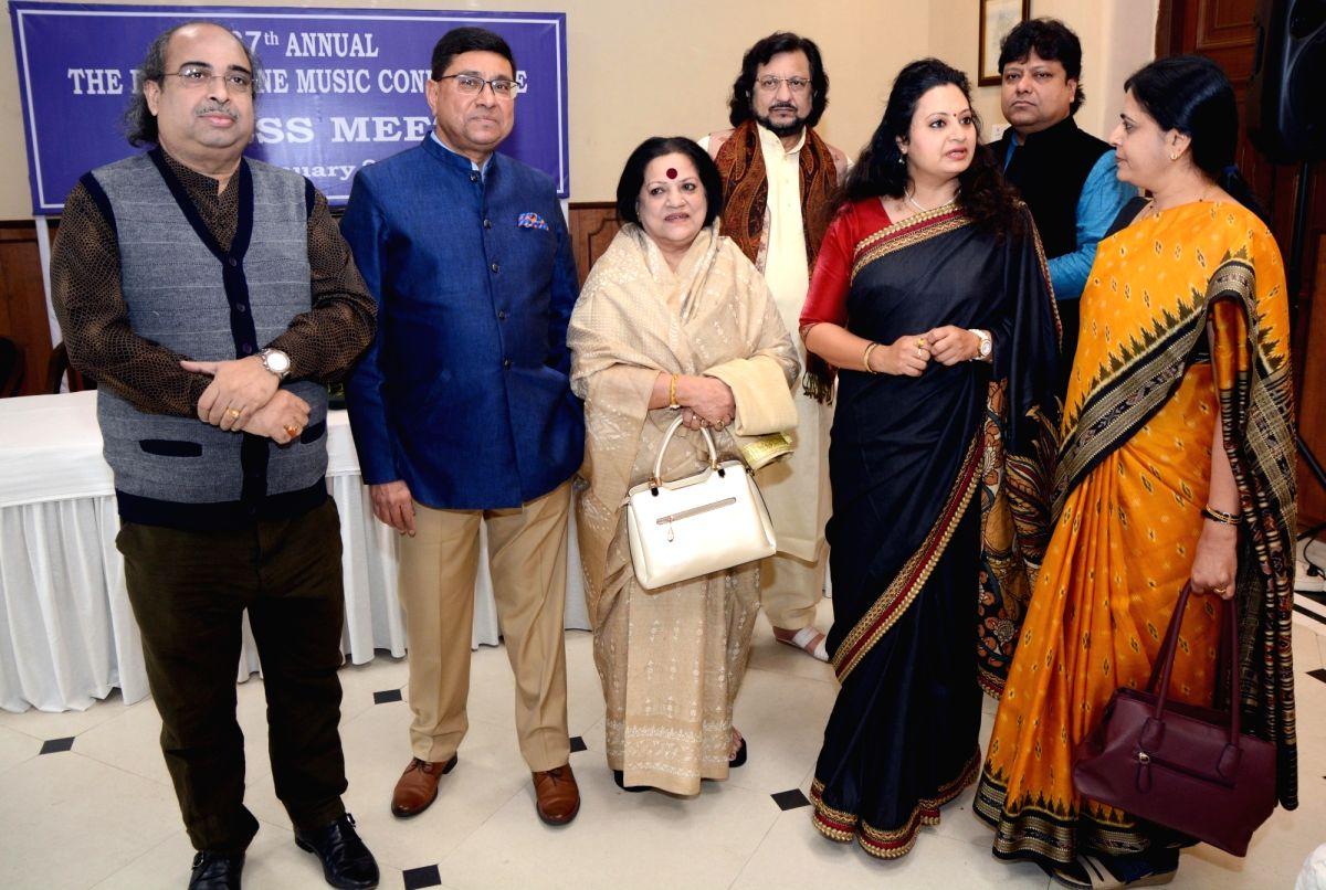 :Kolkata: Vocalist Meeta Pandit, music artist Bharati Prathap, singer Haimanti Sukla, sarod player Tejendra Majumdar and music composer Kumar Bose at a press conference during 67th Annual ' ...