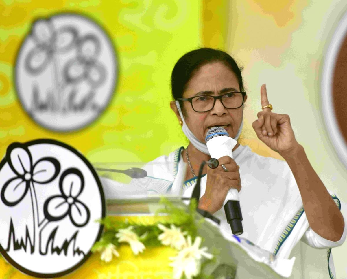 Kolkata: West Bengal Chief Minister and TMC supremo, Mamata Banerjee during 21 July TMC Martyrs day virtually observed at Kalighat her residence in Kolkata  on Wednesday July 21, 2021