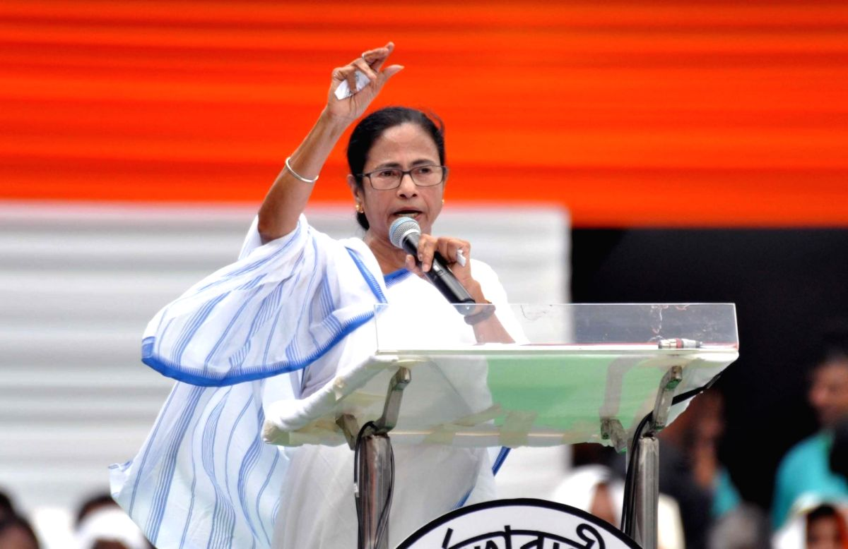 Kolkata: West Bengal Chief Minister and TMC Supremo Mamata Banerjee addresses during party's annual Martyrs' Day rally in Kolkata on July 21, 2019. (Photo: Kuntal Chakrabarty/IANS)