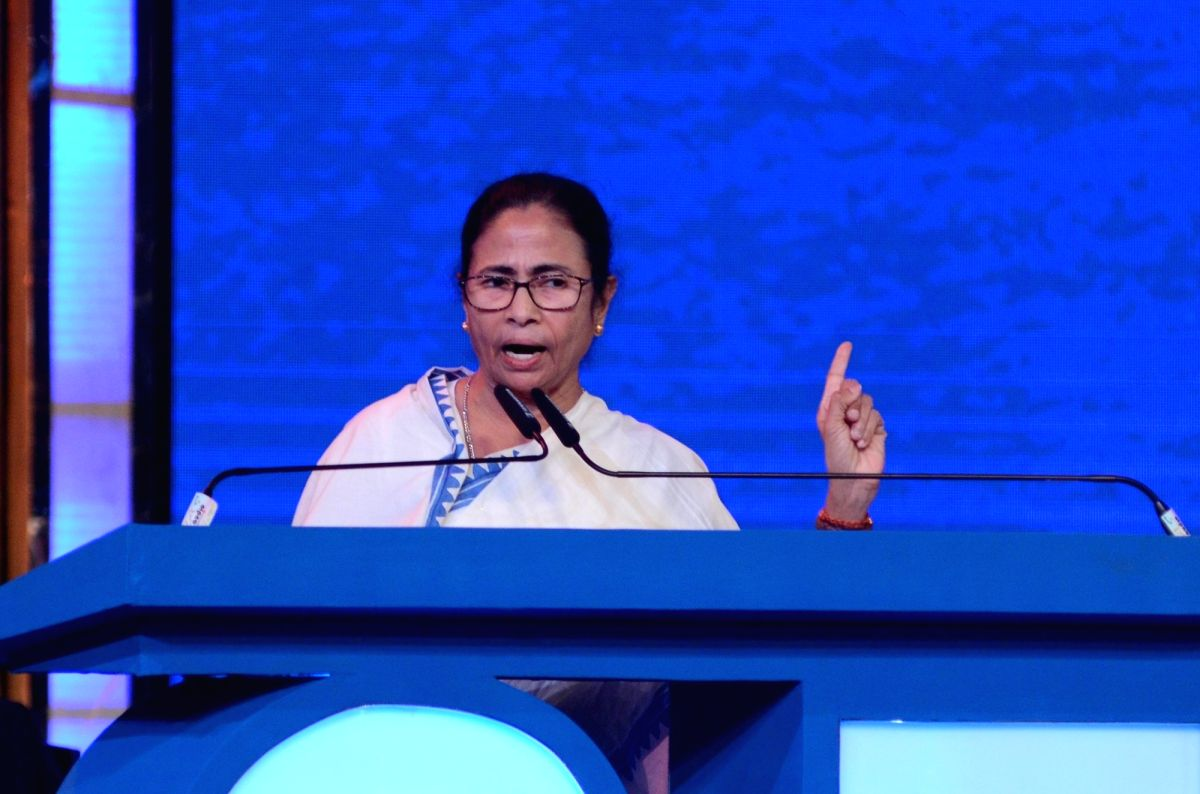 Kolkata: West Bengal Chief Minister Mamata Banerjee addresses at the inaugural session of the 25th Kolkata International Film festival, in Kolkata on Nov 8, 2019. (Photo: Kuntal Chakrabarty/IANS)