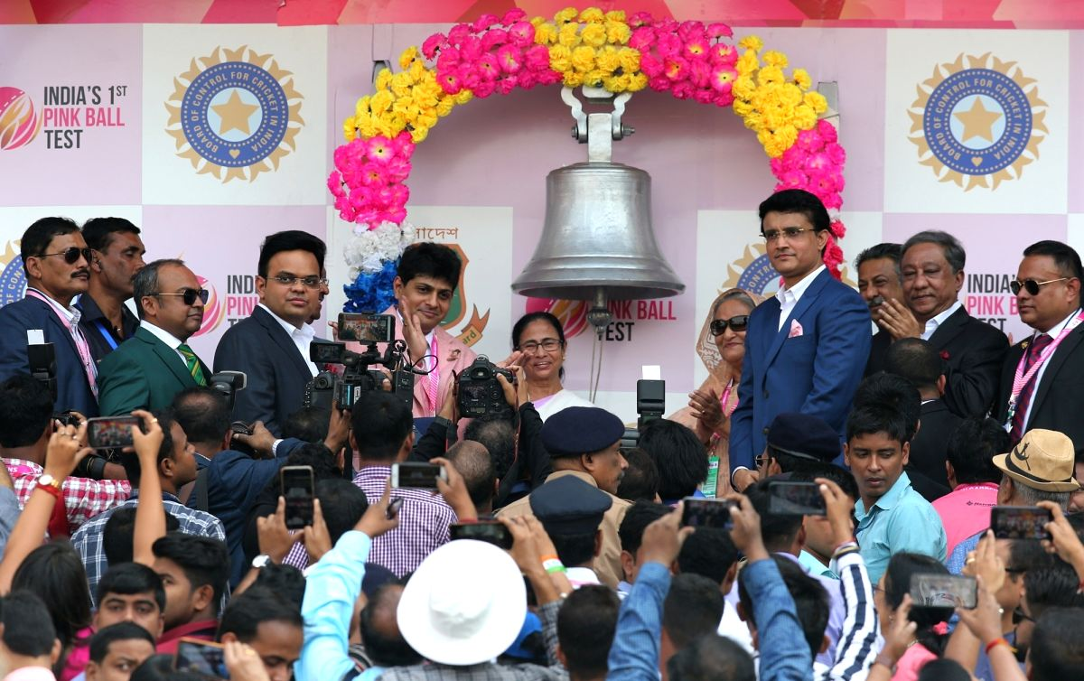 Kolkata: West Bengal Chief Minister Mamata Banerjee and Bangladesh Prime Minister Sheikh Hasina along with BCCI President Sourav Ganguly, ring the Eden Bell to inaugurate historic pink ball cricket Test match between India and Bangladesh, at the Eden