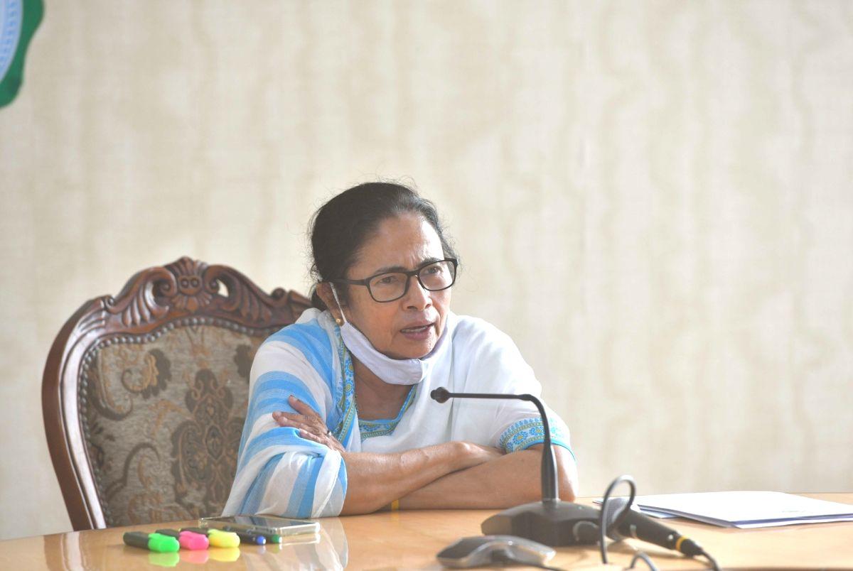 Kolkata:  West Bengal Chief Minister Mamata Banerjee at a press conference at Nabanna Howrah in Kolkata on Monday 14 June 2021. (Photo: Kuntal Chakrabarty/ IANS)
