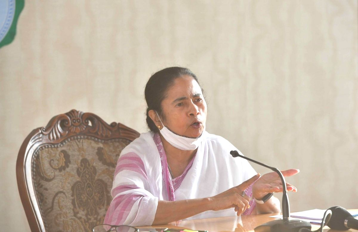 Kolkata: West Bengal Chief Minister Mamata Banerjee at a press conference after meeting with Government Officers on COVID and after storm cyclone Yash situations of Bengal at Howrah in Kolkata on Wednesday, June 23, 2021. (Photo:IANS)