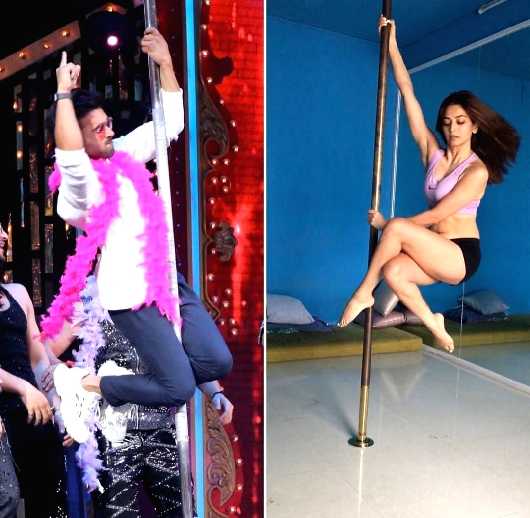 Kriti Kharbanda has shared pictures of herself and rumoured beau Pulkit Samrat, where both are seen trying out pole dancing, and we bet the actress is looking super-hot and sexy!.