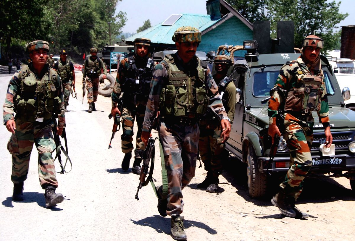 Kulgam: Soldiers during an operation launched after at least two Indian Army soldiers were killed and three wounded when militants attacked a military vehicle on the Jammu-Srinagar national highway in Kulgam district on June 3, 2017.