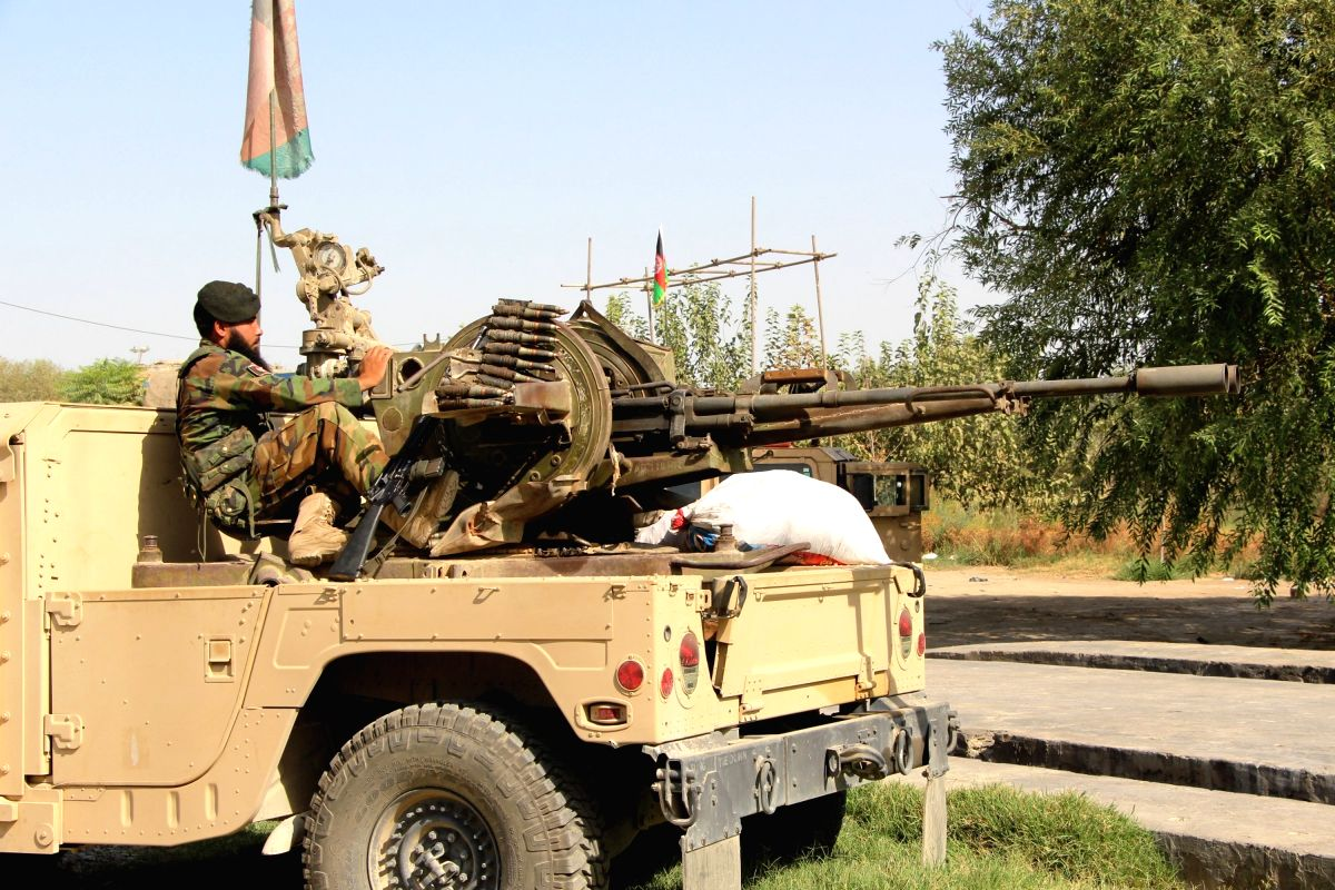 KUNDUZ, Aug. 25, 2016 (Xinhua) -- An Afghan security force member takes part in a military operation in Kunduz province, Afghanistan, Aug. 25, 2016. Taliban multi-pronged offensives to overrun the strategically important Kunduz city 250 km north of K