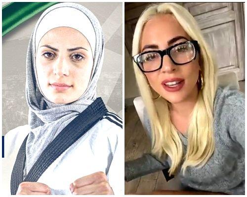 Lady Gaga and Jordanian athlete Julyana. (Credit: Jordan Olympic Committee & Lady Gaga twitter)