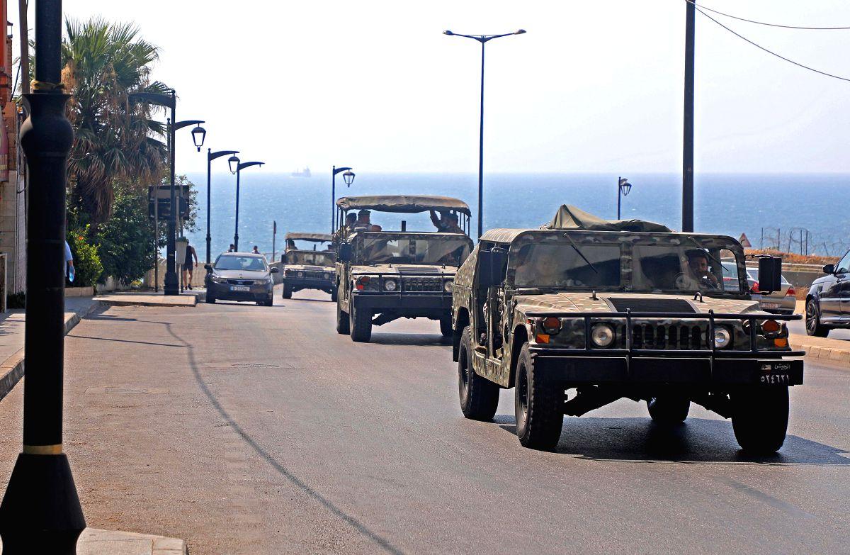 Lebanese soldiers patrol in Beirut
