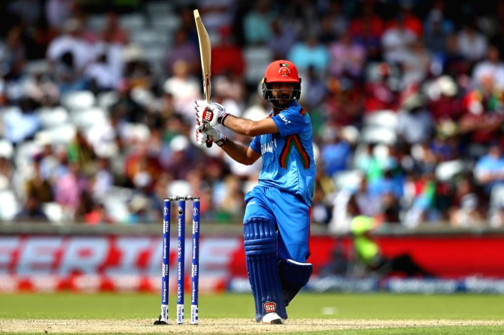 Leeds: Afghanistan's Ikram Ali Khil in action during the 27th match of 2019 World Cup between West Indies and Afghanistan at Headingley Cricket Ground in Leeds, England on July 4, 2019. (Photo Credit: Twitter/@cricketworldcup)