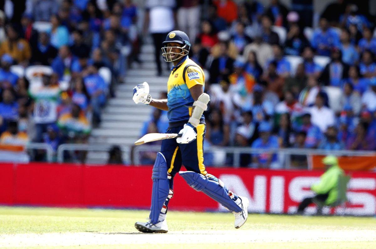 Leeds: Sri Lanka's Angelo Mathews celebrates his century during the 44th match of World Cup 2019 between India and Sri Lanka at Headingley Stadium in Leeds, England on July 6, 2019. (Photo: Surjeet Yadav/IANS)