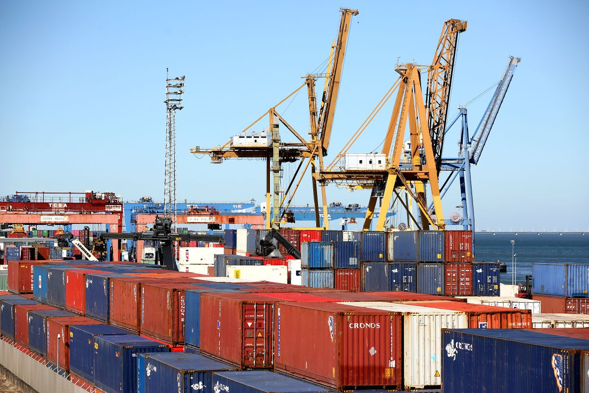 LISBON, Aug. 15, 2019 (Xinhua) -- Photo taken on Aug. 14, 2019 shows the Santa Apolonia Container Terminal in Lisbon, Portugal. The Portuguese GDP grew by 1.8 percent in the second quarter of 2019, according to official data published by the National