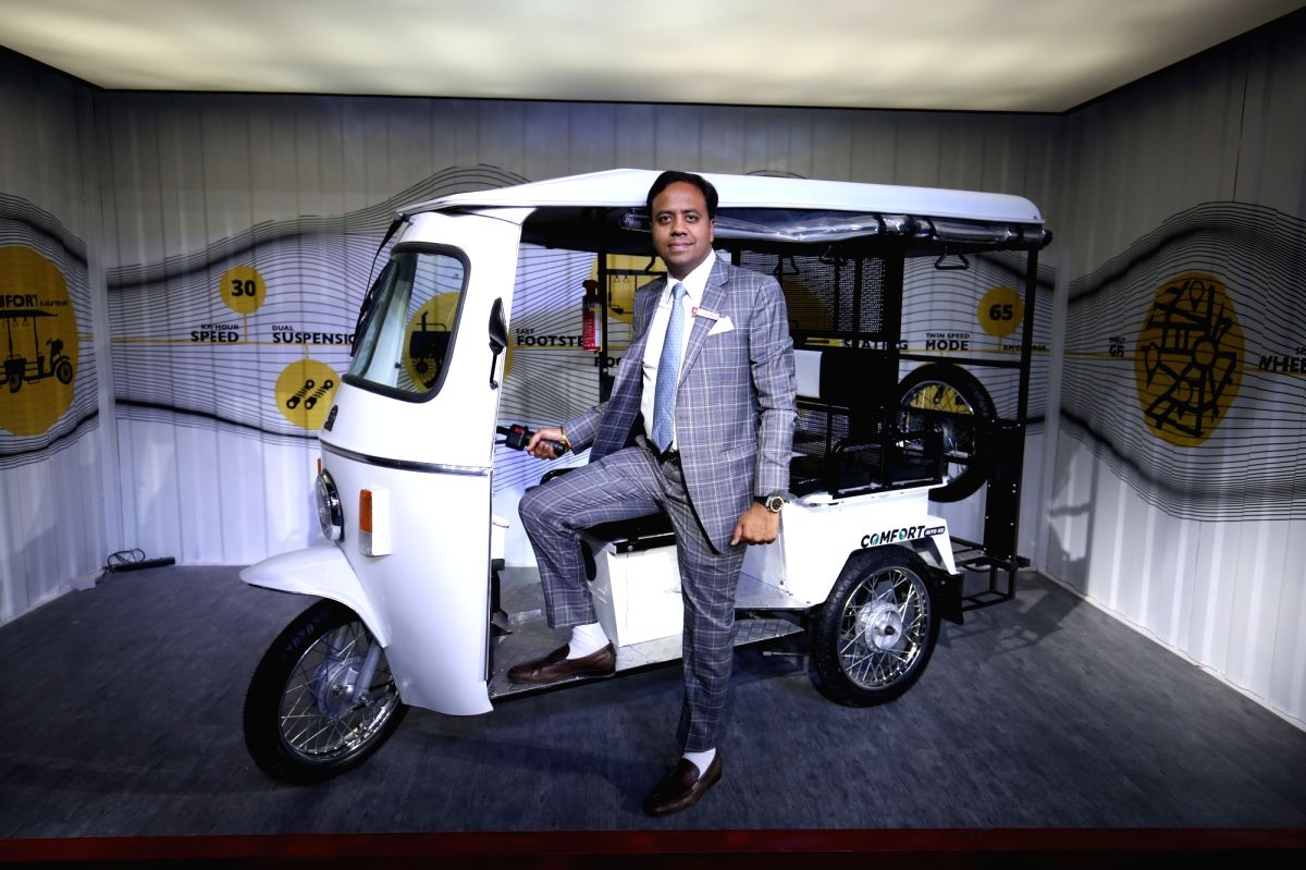 Lohia Auto Industries CEO Ayush Lohia during launch of Comfort E at the Auto Expo 2018 in New Delhi on Feb 8, 2018.