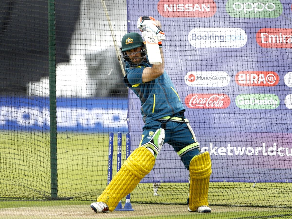 London: Australia's Glenn Maxwell during a practice session ahead of their 2019 ICC Cricket World Cup match against India, at the Oval in London on June 8, 2019. (Photo: Surjeet Yadav/IANS)