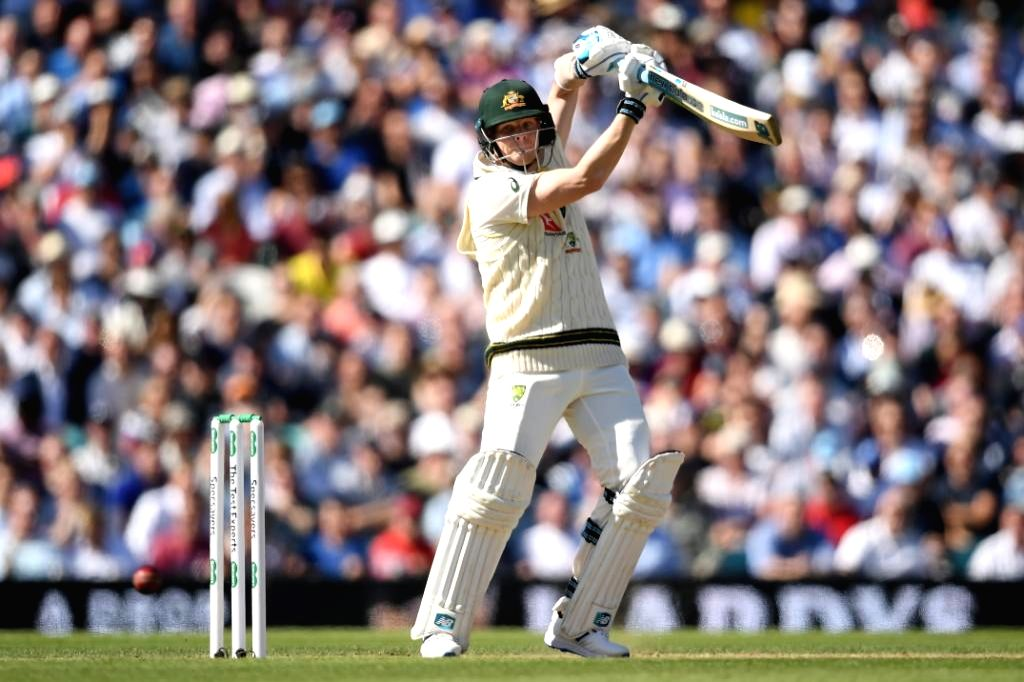 London: Australia's Steve Smith in action on Day 2 of the 5th Test match between England and Australia at Kennington Oval in London on Sep 13, 2019. (Photo: Twitter/@ICC)