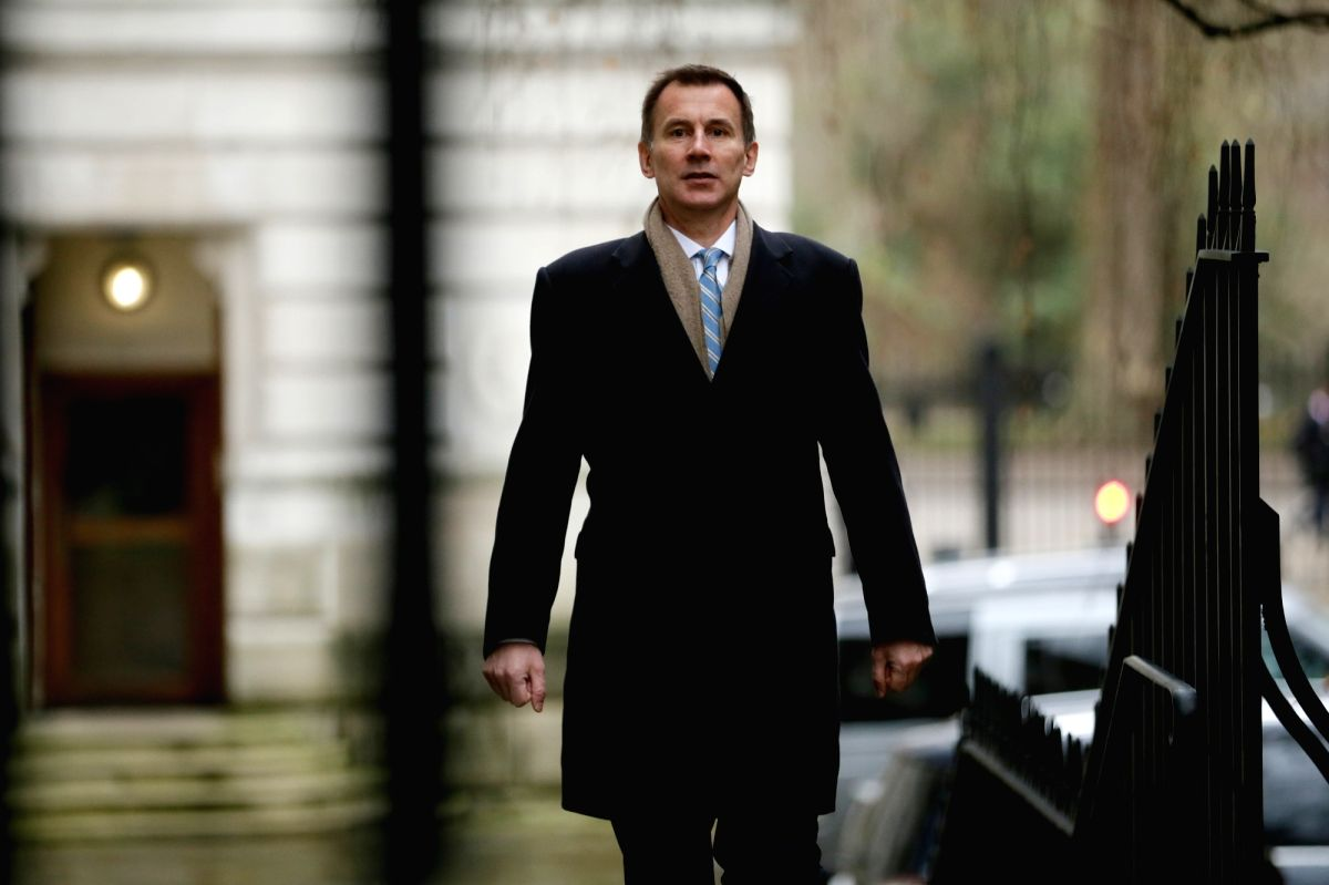 LONDON, Dec. 18, 2018 (Xinhua) -- British Foreign Secretary Jeremy Hunt arrives for a cabinet meeting at 10 Downing Street in London, Britain, Dec. 18, 2018. British Prime Minister Theresa May announced in the House of Commons Monday that Members of