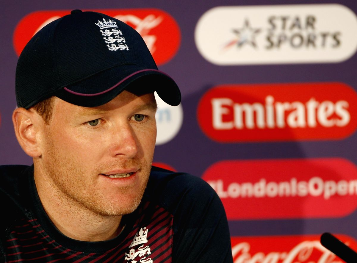 London: England Captain Eoin Morgan addresses a press conference ahead of World Cup 2019 Finals against New Zealand in London on July 13, 2019. (Photo: Surjeet Yadav/IANS)