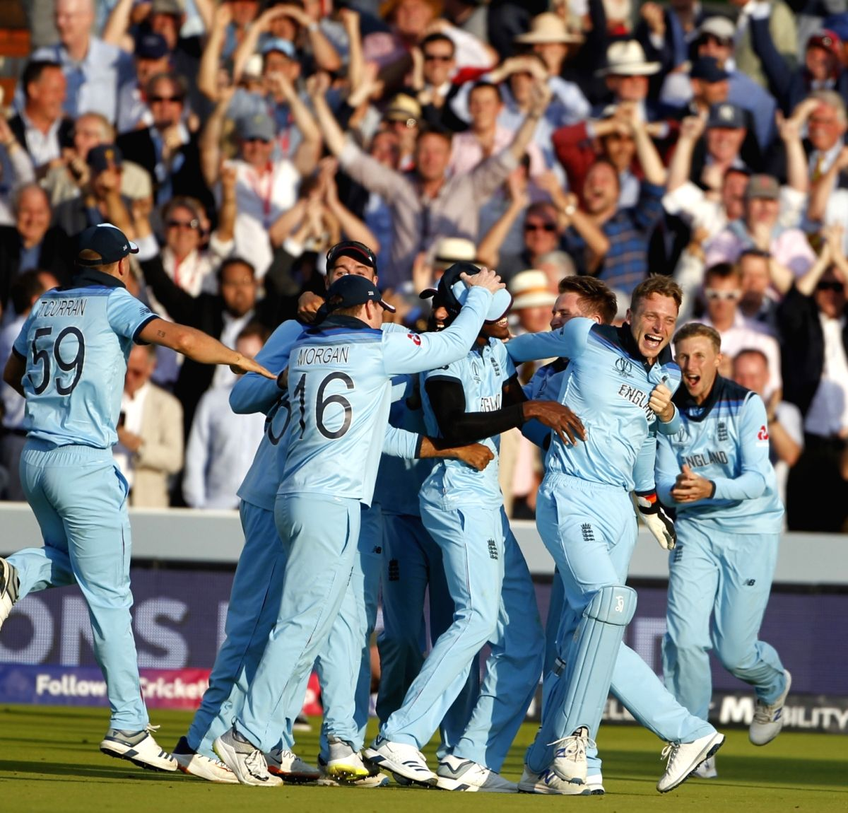 London: England players celebrate after winning the final match of the 2019 World Cup against New Zealand at the Lord's Cricket Stadium in London, England on July 14, 2019. (Photo: Surjeet Yadav/IANS)