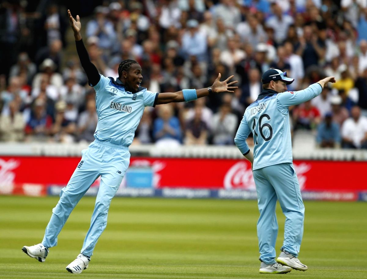 England's Jofra Archer appeals during the final match of the 2019 World Cup between New Zealand and England at the Lord's Cricket Stadium in London