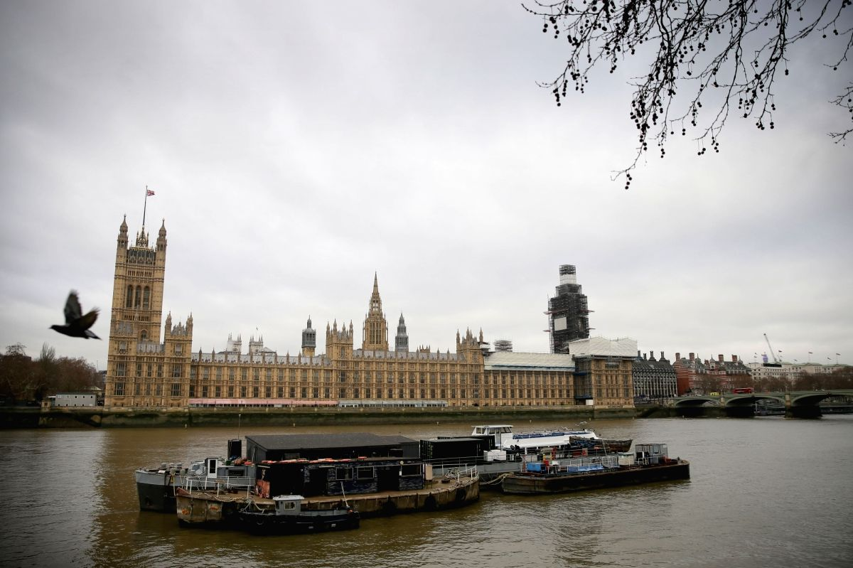 LONDON, Jan. 7, 2019 (Xinhua) -- Photo taken on Jan. 7. 2019 shows the Houses of Parliament in London, Britain. MPs returned to Westminster Monday after the festive and new year break, and will resume debate on the Brexit bill on Wednesday, with the