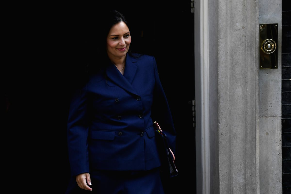 LONDON, July 25, 2019 (Xinhua) -- Britain's Home Secretary Priti Patel leaves 10 Downing Street after attending a cabinet meeting in London, Britain, on July 25, 2019. (Photo by Alberto Pezzali/Xinhua/IANS)
