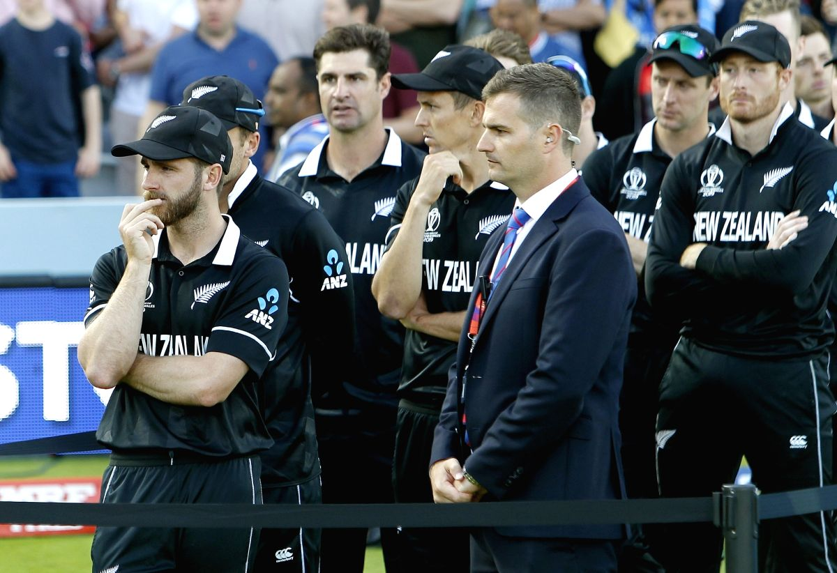 London: London: New Zealand players after losing the final match of the 2019 World Cup against England at the Lord's Cricket Stadium in London, England on July 14, 2019. (Photo: Surjeet Yadav/IANS)