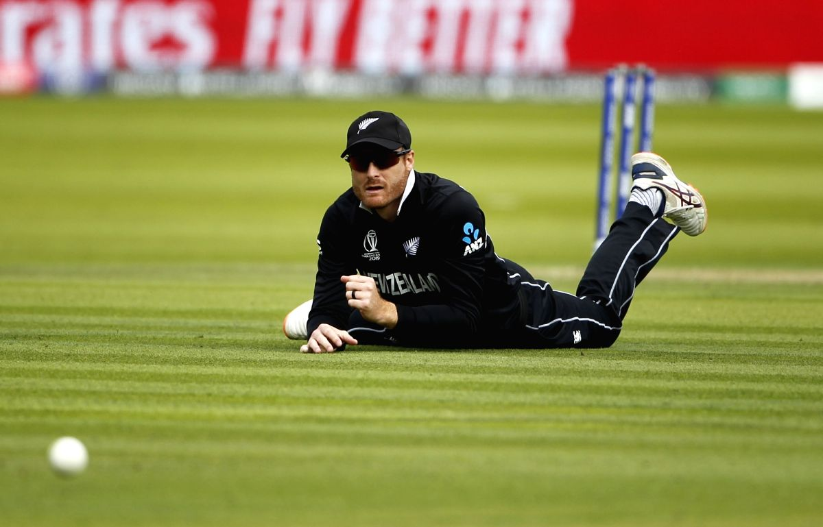 London: New Zealand's Martin Guptill in action during the final match of the 2019 World Cup between New Zealand and England at the Lord's Cricket Stadium in London, England on July 14, 2019. (Photo: Surjeet Yadav/IANS)