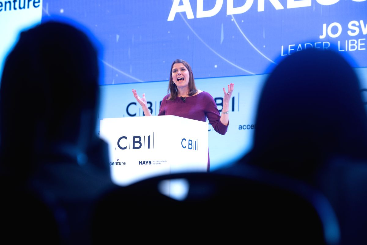 LONDON, Nov. 18, 2019 (Xinhua) -- British Liberal Democrats party leader Jo Swinson speaks at the Confederation of British Industry (CBI) annual conference in London, Britain, on Nov. 18, 2019. In their addresses at the Confederation of British Indus