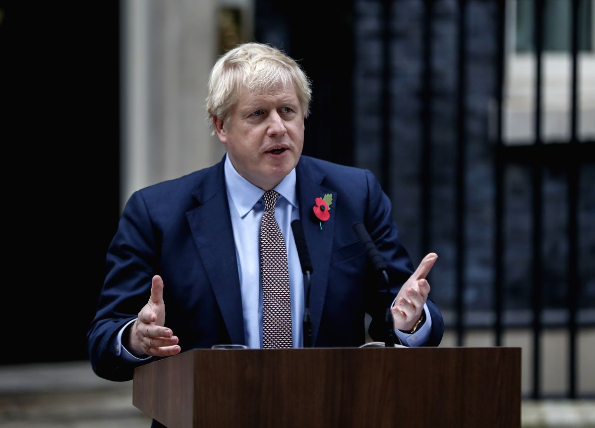 LONDON, Nov. 6, 2019 (Xinhua) -- British Prime Minister Boris Johnson makes a statement outside 10 Downing Street in London, Britain on Nov. 6, 2019. Britain's general election campaign officially started Wednesday after Prime Minister Boris Johnson