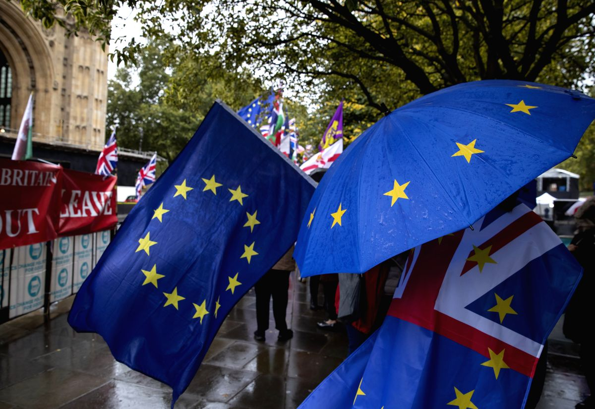 LONDON, Oct. 17, 2019 (Xinhua) -- Protestors demonstrate outside the Houses of Parliament in London, Britain, Oct. 17, 2019. The Northern Irish Democratic Unionist Party (DUP) on Thursday rejected Prime Minister Boris Johnson's Brexit draft, despite