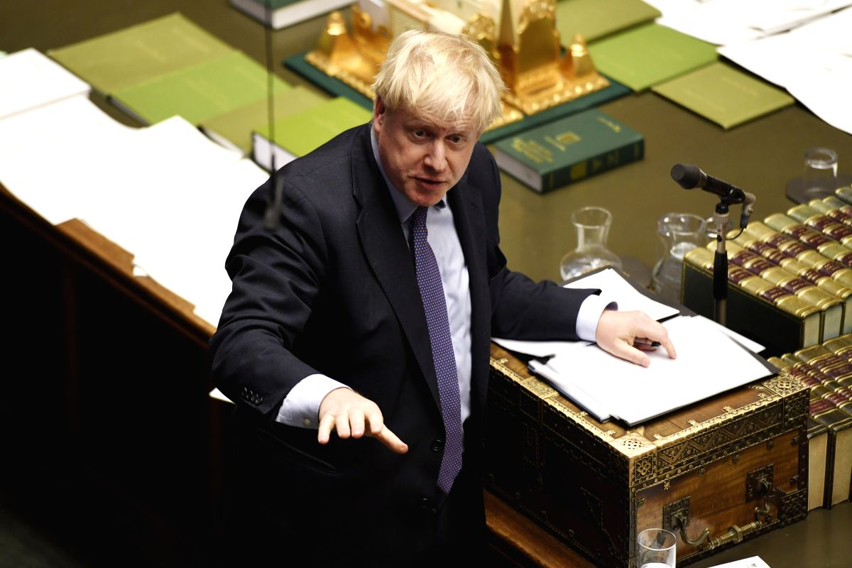 LONDON, Oct. 22, 2019 (Xinhua) -- British Prime Minister Boris Johnson speaks at the House of Commons in London, Britain, on Oct. 22, 2019. Boris Johnson on Tuesday was defeated in a vote on his Brexit timetable, meaning his government could push for