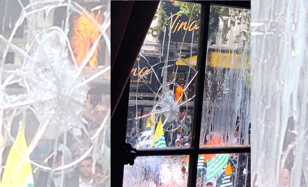 London: The Indian High Commission in London was once again attacked and vandalised by Pakistani protestors agitating against the scrapping of Article 370 and the restrictions imposed in Kashmir. (Photo: IANS/MEA)