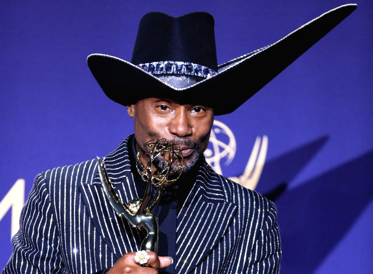 """LOS ANGELES, Sept. 23, 2019 (Xinhua) -- Actor Billy Porter poses with the award for Outstanding Lead Actor in a Drama Series for """"Pose"""" during the 71st Primetime Emmy Awards in Los Angeles, the United States, Sept. 22, 2019. (Xinhua/Li Ying/IANS)"""