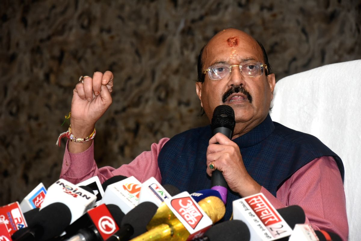 Lucknow: Rajya Sabha member Amar Singh addresses a press conference, in Lucknow, on Aug 28, 2018.