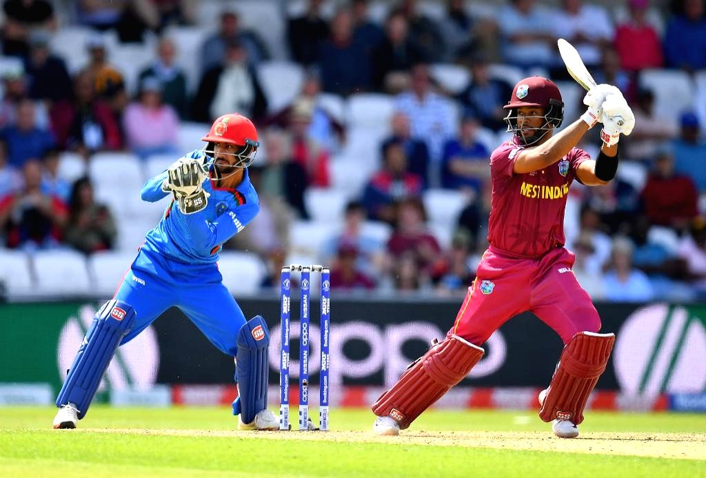 Lucknow: West Indies' Shai Hope in action during the 1st ODI match between West Indies and Afghanistan at Sheldon Cottrell Bharat Ratna Shri Atal Bihari Vajpayee Ekana Cricket Stadium in Lucknow on Nov 9, 2019. (Photo: Twitter/@ICC)