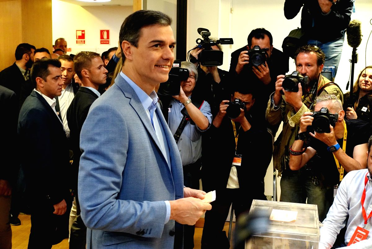 MADRID, April 28, 2019 (Xinhua) -- Spanish Prime Minister Pedro Sanchez prepares to cast his ballot at a polling station in Madrid, Spain, April 28, 2019. Spain's polling stations opened on Sunday at 09:00 local time (0700 GTM) for the country's thir