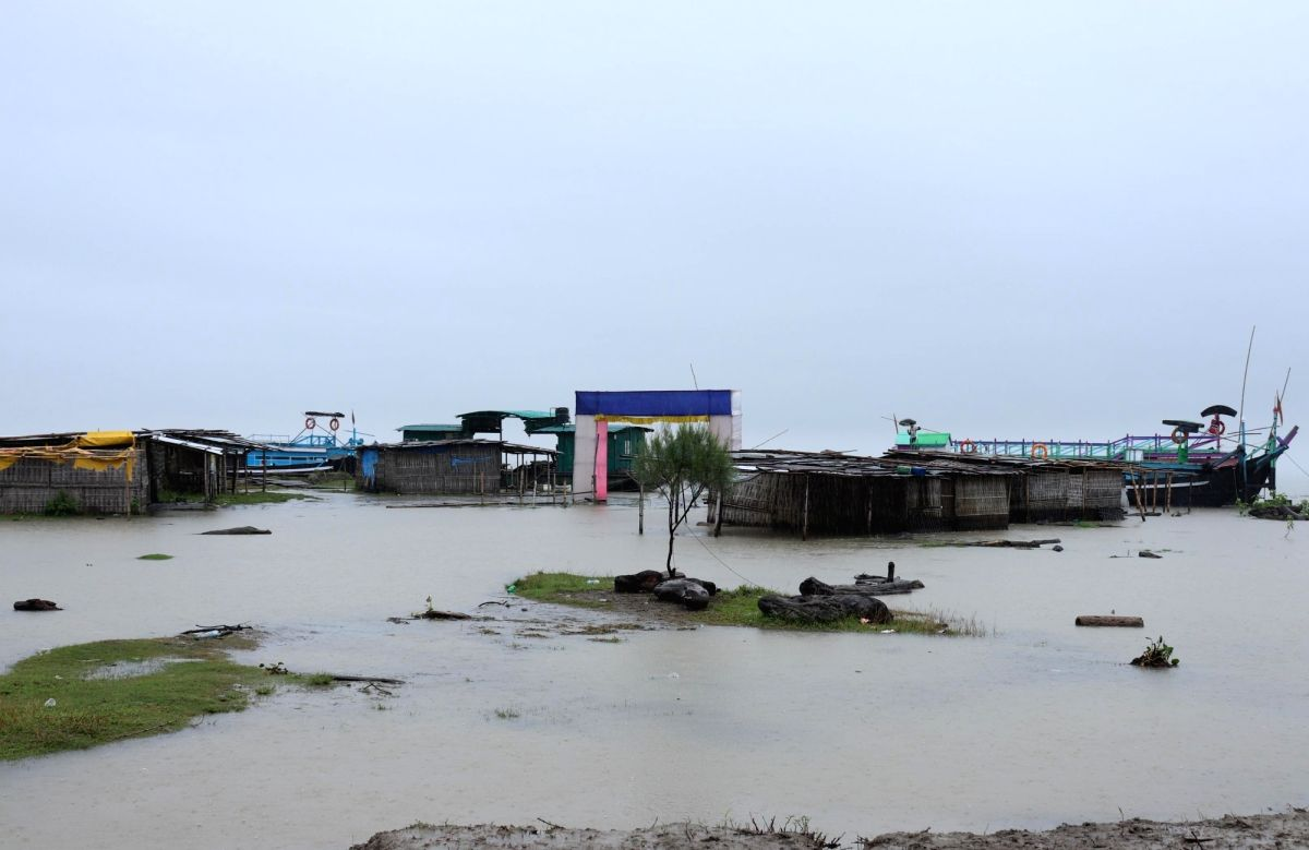 Majuli: The Afolamukh Ghat in river Island Majuli where ferry services have been suspended for an indefinite period following the heavy downpour and rise in the water levels of Brahmaputra river, in Assam's Majuli on July 10, 2019.