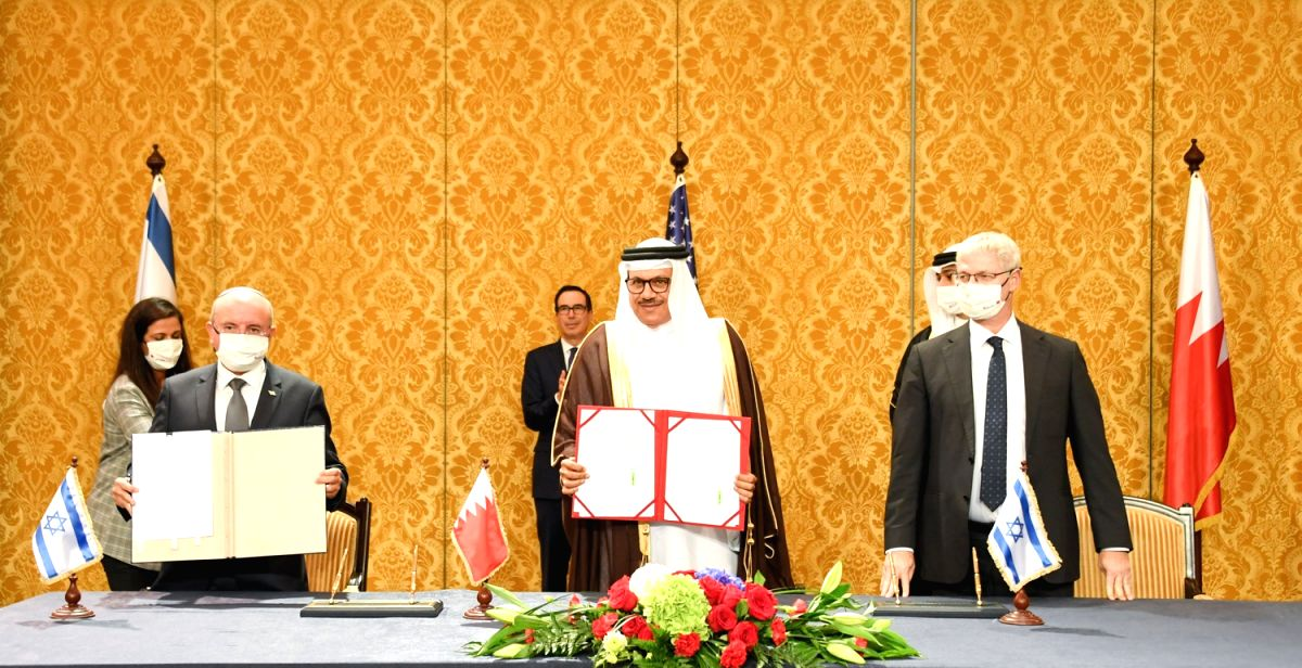 Manama, Oct. 18, 2020 (Xinhua) -- Israeli National Security Advisor Meir Ben Shabbat (front L), Bahraini Foreign Minister Abdullatif Al Zayani (front C) and Israeli Foreign Ministry Director-General Alon Ushpiz (front R) attend a signing ceremony in