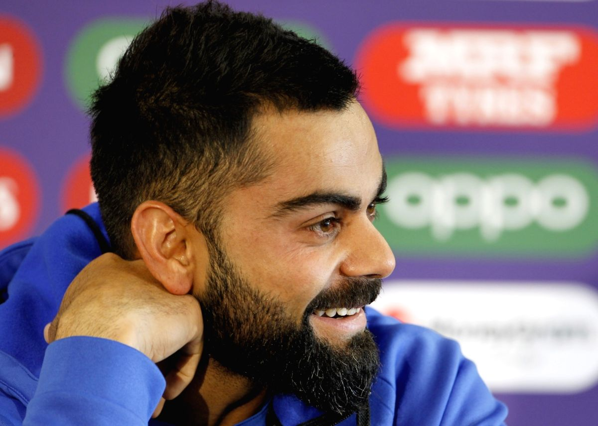 Manchester: India's captain Virat Kohli during a press conference ahead of the 46th match of World Cup 2019 against New Zealand at Old Trafford in Manchester, England on July 8, 2019. (Photo: Surjeet Kumar/ IANS)