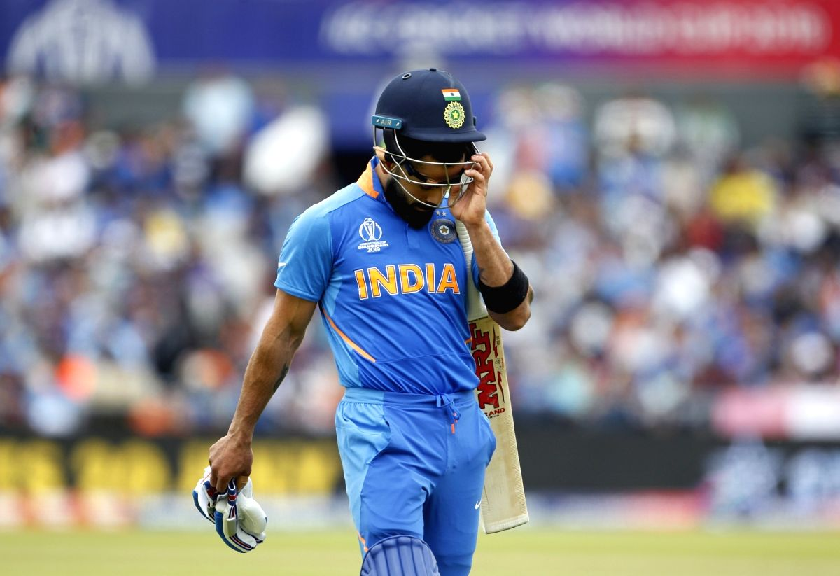 Manchester: India's Virat Kohli reacts after getting dismissed during the 1st Semi-final match of 2019 World Cup between India and New Zealand at Old Trafford in Manchester, England on July 10, 2019. (Photo: Surjeet Kumar/IANS)