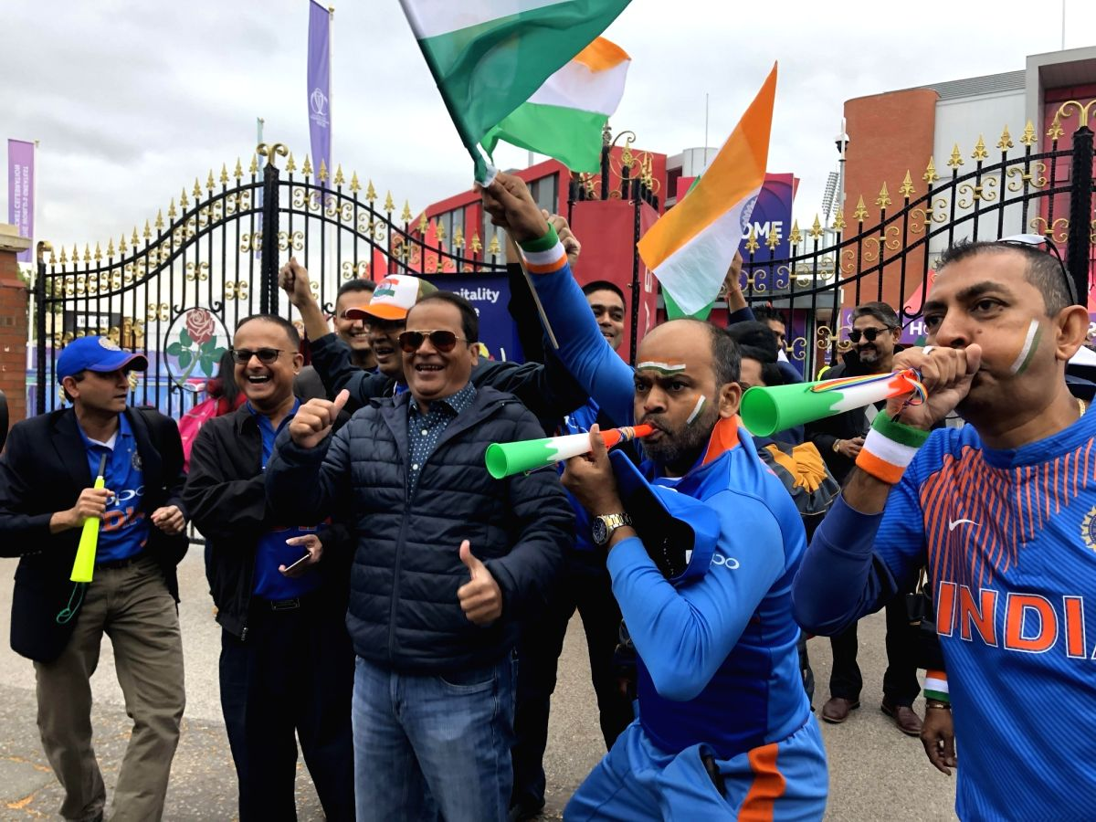 Manchester: Indian fans gather outside the Old Trafford stadium ahead of the 46th match of World Cup 2019 between India and New Zealand in Manchester, England on July 9, 2019.
