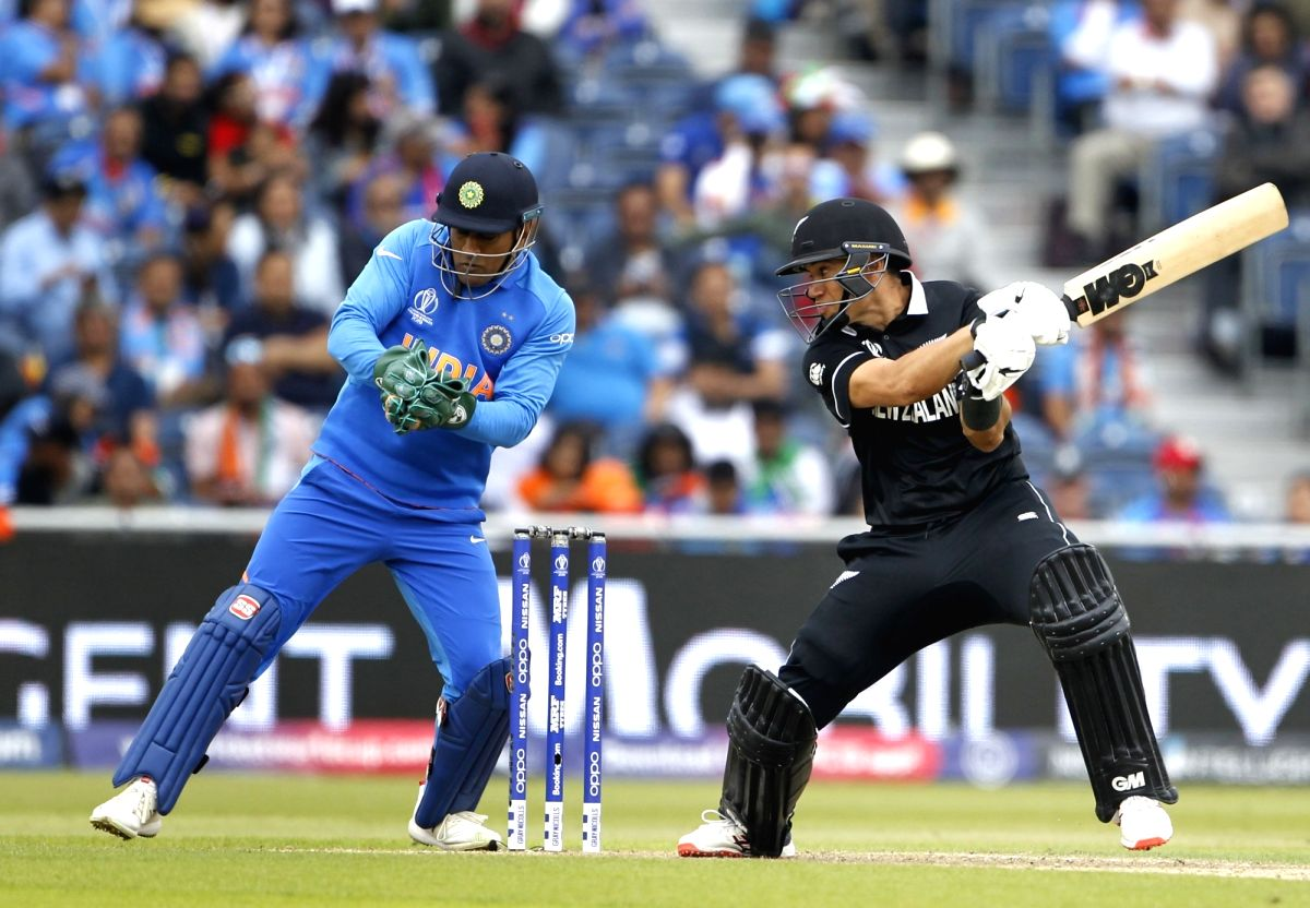 Manchester: New Zealand's Ross Taylor in action during the 1st Semi-final match of 2019 World Cup between India and New Zealand at Old Trafford in Manchester, England on July 9, 2019. (Photo: Surjeet Kumar/IANS)