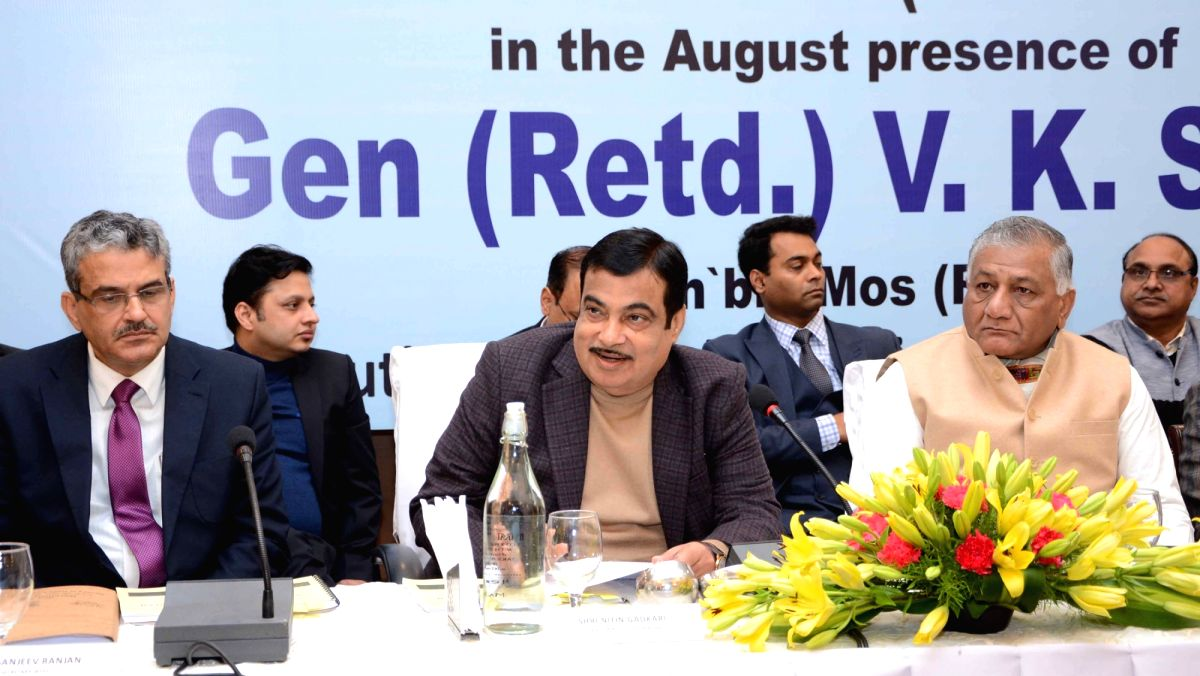 Manesar: Union Minister for Road Transport & Highways and Micro, Small & Medium Enterprises Nitin Gadkari chairs the review meeting of NHAI-Ministry projects in Haryana's Manesar on Jan 23, 2020. Also seen MoS for Road Transport and Highways, General