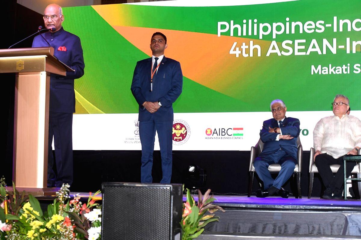 Manila: President Ram Nath Kovind attending the Indian Business Summit at Hotel Makati Shangri-La in Manila, Philippines on Oct 19, 2019. (Photo: IANS/RB)