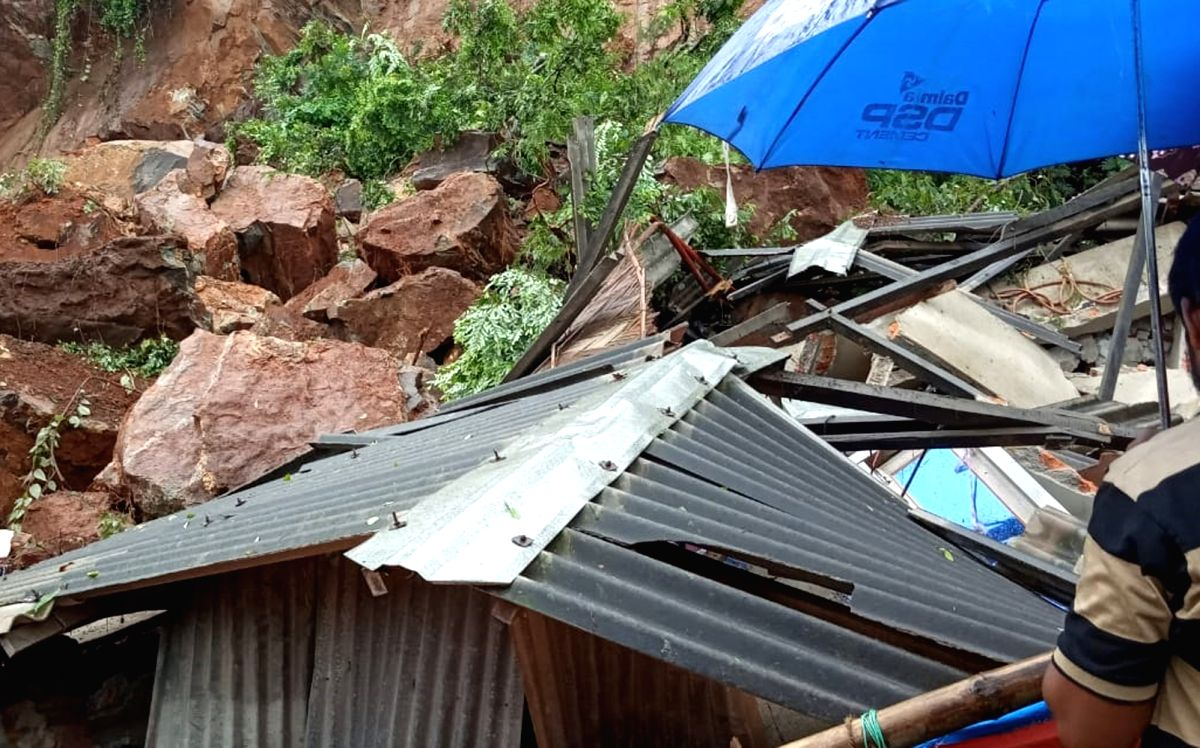 Massive landslide on the Rani-Gorchuk connecting road disrupted the entire stretch of Koinadhora Path following heavy rainfall, in Guwahati on July 10, 2019. Reportedly, the landslide damaged two houses, and one person was severely injured. (Photo: I